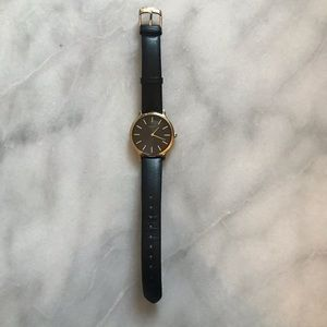 Timex Black Leather Watch with Black Face